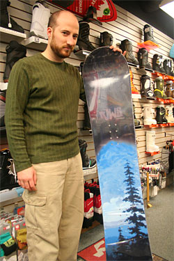 Kevin and his new snowboard